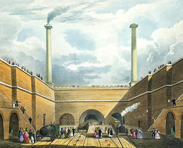 Chimney Drawing - Entrance Of The Railway At Edge Hill by Thomas Talbot Bury