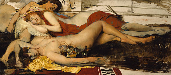 Nude Painting - Exhausted Maenides by Sir Lawrence Alma Tadema