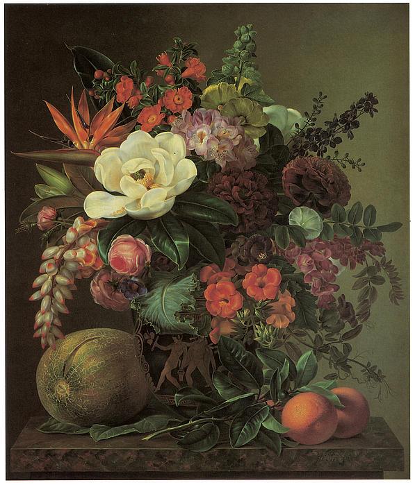 Johan Laurantz Jensen Painting - Exotic Bloom In A Grecian Urn by Johan Laurentz Jensen