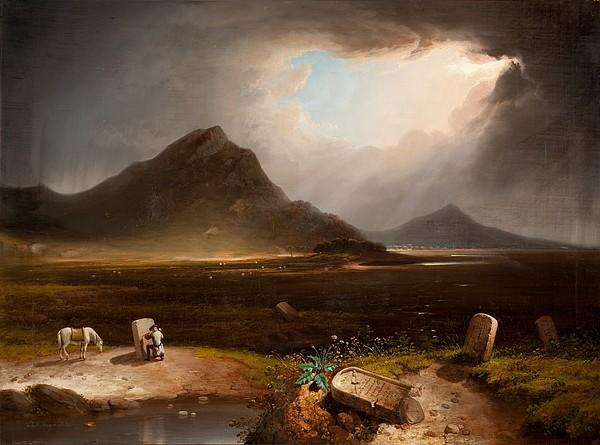 Landscape Painting - Extensive Landscape With Stonemason by Daniel M. Mackenzie