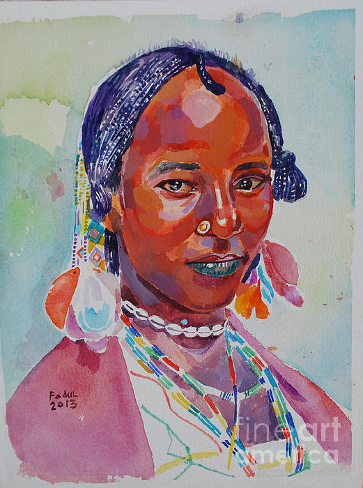 Face From Sudan  2 Painting by Mohamed Fadul