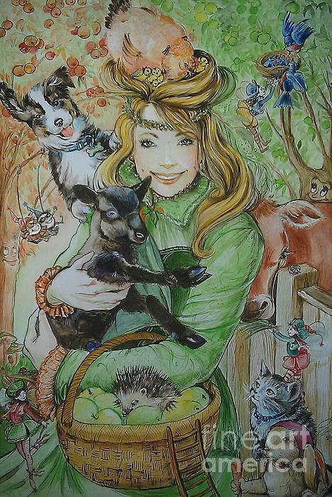 Watercolour Painting - Fairy Hoppert by Ottilia Zakany