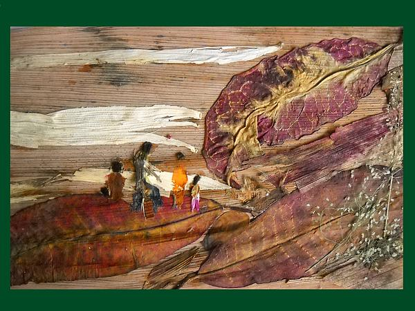 Landscape Mixed Media - Family Walk On Hill by Basant Soni