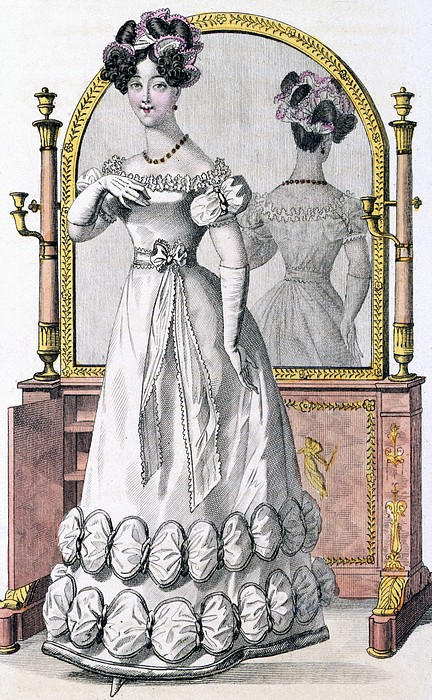 Female Drawing - Fashion Plate Of A Lady In Evening by English School