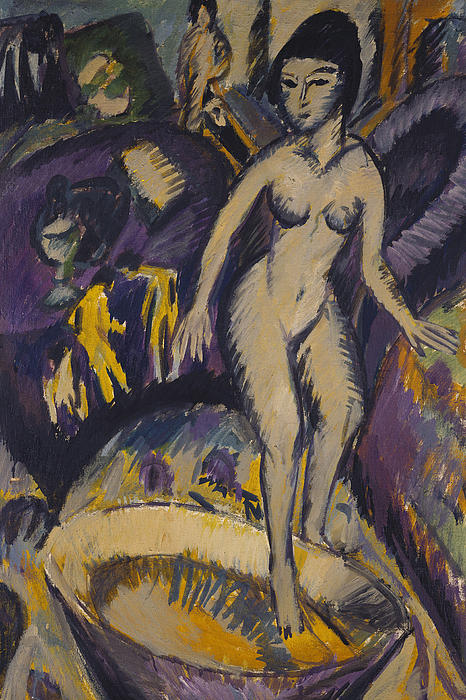 Kirchner Painting - Female Nude With Hot Tub by Ernst Ludwig Kirchner