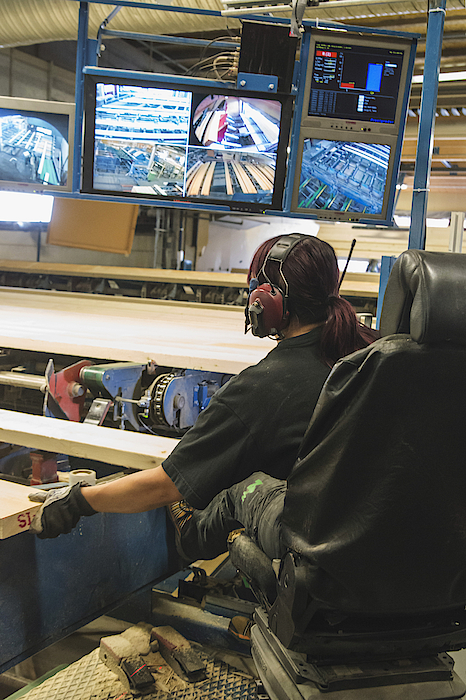 Female Worker Monitoring Computer Screens At Lumber Industry Photograph by Hakan Jansson