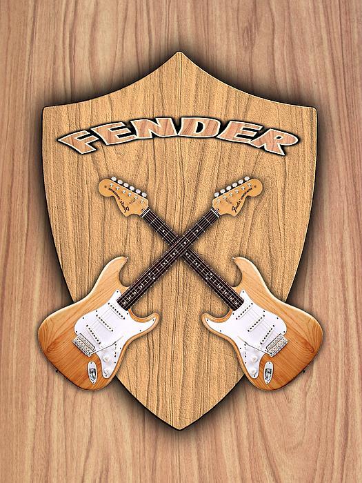 Fender Digital Art - Fender Stratocaster Natural Color Shield by Doron Mafdoos