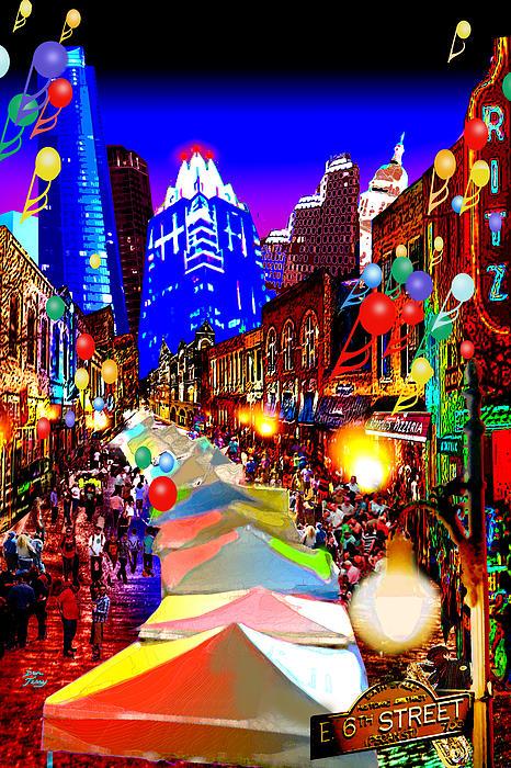 Dan Terry Painting - Festive 6th Street Austin by Dan Terry