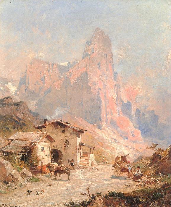 Landscape Digital Art - Figures In A Village In The Dolomites by Franz Richard Unterberger