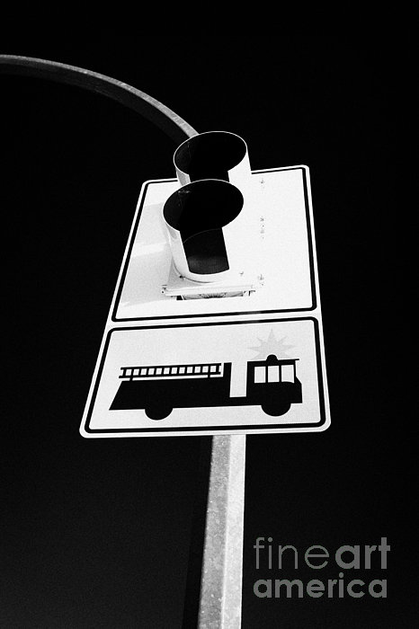 Stop Photograph - fire engine stop sign and signal Saskatoon Saskatchewan Canada by Joe Fox