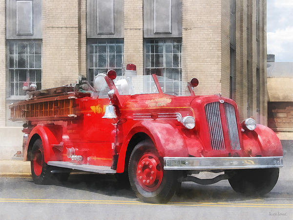 Fire Truck Photograph - Fire Fighters - Vintage Fire Truck by Susan Savad