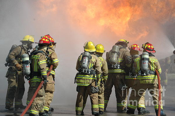 .firefighters Photograph - Fire Training  by Steven Townsend