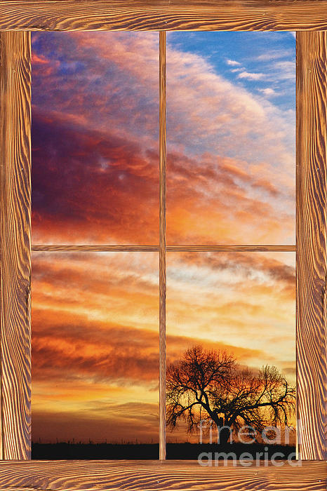 Sunrise Photograph - First Dawn Barn Wood Picture Window Frame View by James BO  Insogna