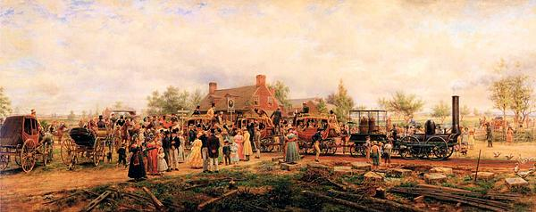 First Railroad Train On The Mohawk And Hudson Digital Art - First Railroad Train On The Mohawk And Hudson by Edward Henry