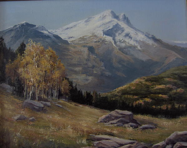 Mountains Painting - First Signs Of Fall by Mar Evers