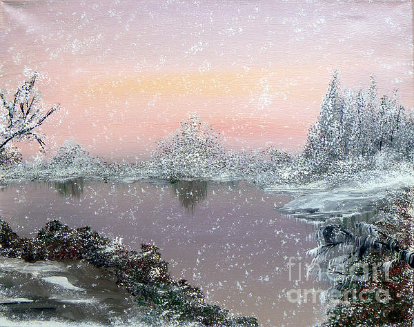 Snowfall Painting - First Snowfall by Alys Caviness-Gober