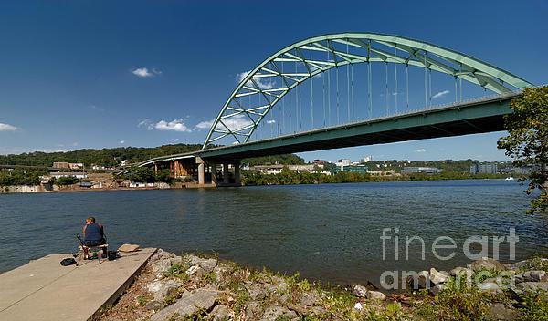 Birmingham Bridge Photograph - Fisherman At Birmingham Bridge Pittsburgh Pennsylvania by Amy Cicconi