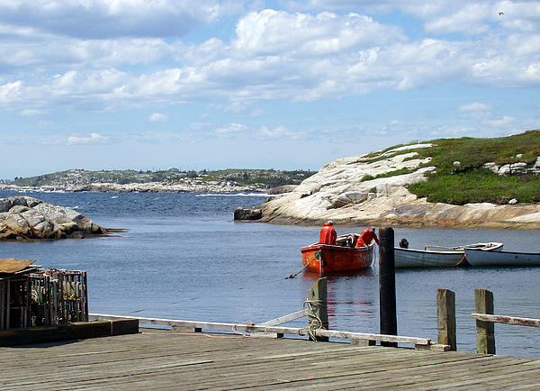 Water Photograph - Fishermen At Peggys Cove by Brenda Anne Foskett