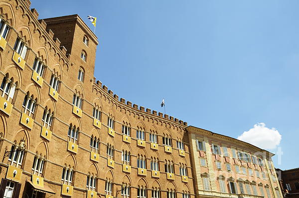 Architecture Photograph - Flags On Building On Piazza Del Campo by Sami Sarkis
