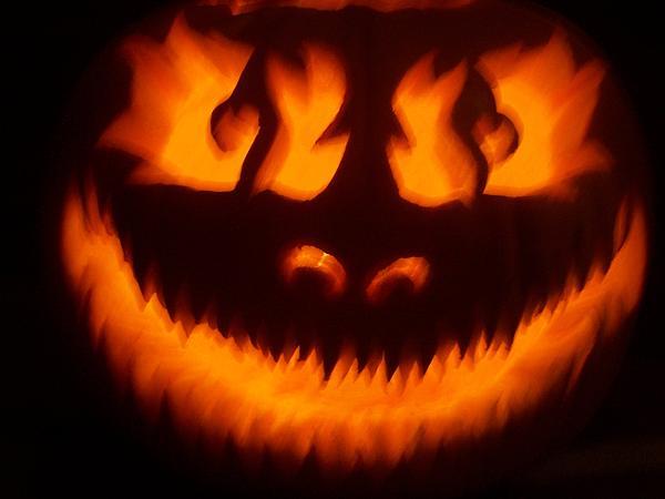 Pumpkin Sculpture - Flame Pumpkin by Shawn Dall