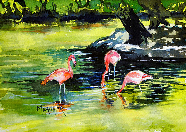 Flamingo Painting - Flamingos At The St Louis Zoo by Spencer Meagher