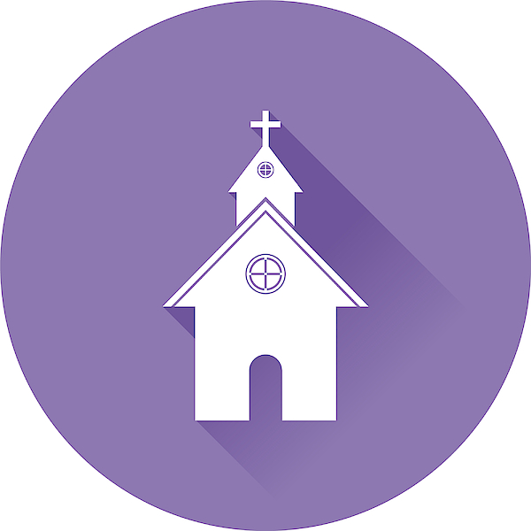 Flat Design Church Icon With Long Shadow Drawing by Zak00