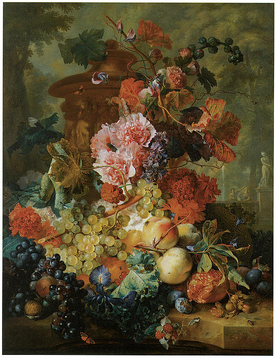 Pink Painting - Flower And Fruit Piece by Jan Van Huysum