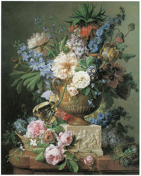 Gerard Van Spaendonck Painting - Flowers In An Alabaster Vase by Gerard Van Spaendonck