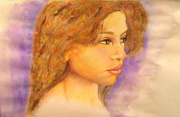 Girl Mixed Media - Flowers In Her Hair IIi. by Paula Steffensen