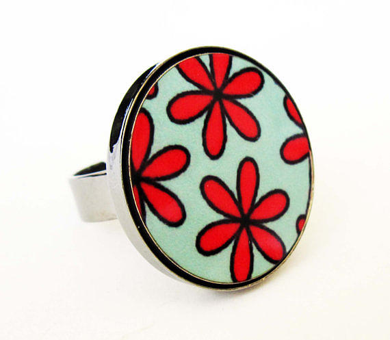 Silhouettes Jewelry - Flowers In Red And Turquoise Ring by Rony Bank