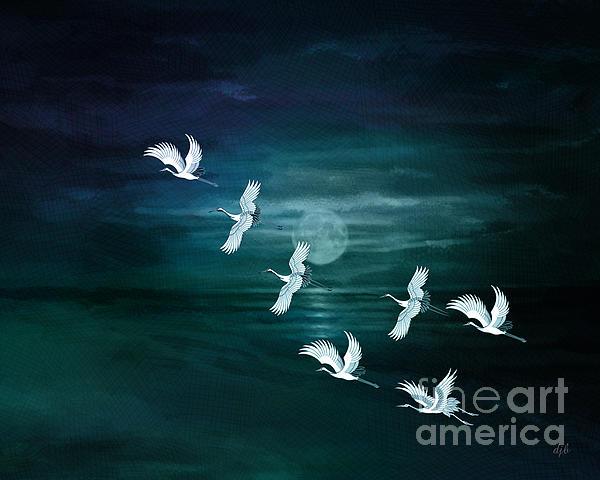Fly Digital Art - Flying By The Moon Bay by Bedros Awak