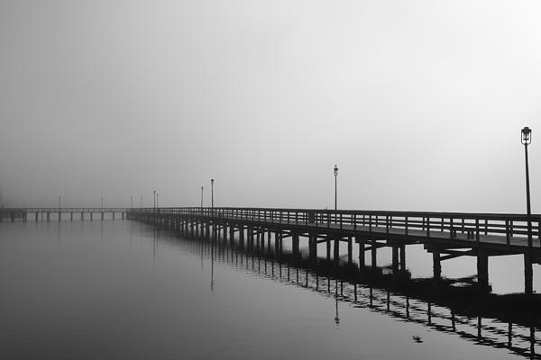 Black And White Photograph - Foggy Pier by Kimberly Oegerle