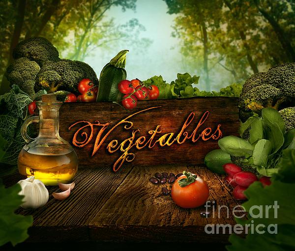 Spring Digital Art - Food Design - Fresh Vegetables In Celery Forest by Mythja  Photography