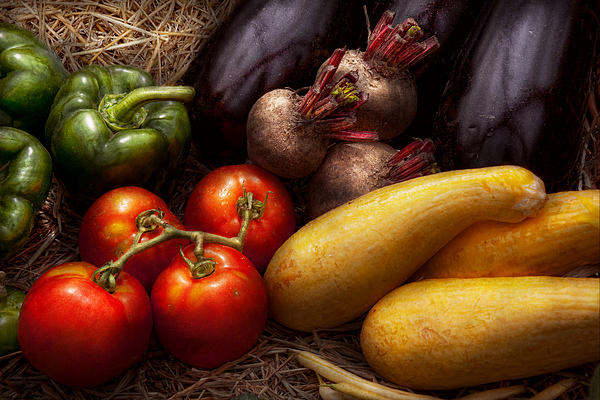 Chef Photograph - Food - Vegetables - Peppers Tomatoes Squash And Some Turnips by Mike Savad
