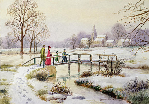 Landscape; Christmas; Family Walk; Snow; Meadow; Rural; Victorian;church Painting - Footbridge In Winter by Stanley Cooke