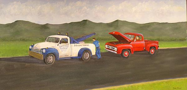 Chevy Tow Truck.ford Painting - Ford Owners Nightmare by Tom Rose