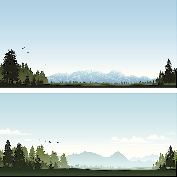 Forest And Mountains Drawing by Edge69
