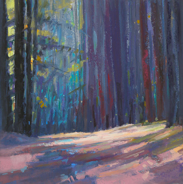 Pastel Painting - Forest Light by Ed Chesnovitch