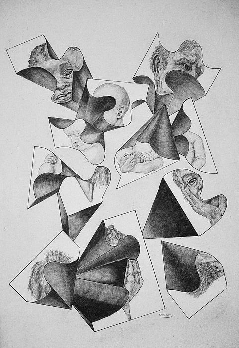 Faces Drawing - Four Faces In Puzzel by Glenn Calloway