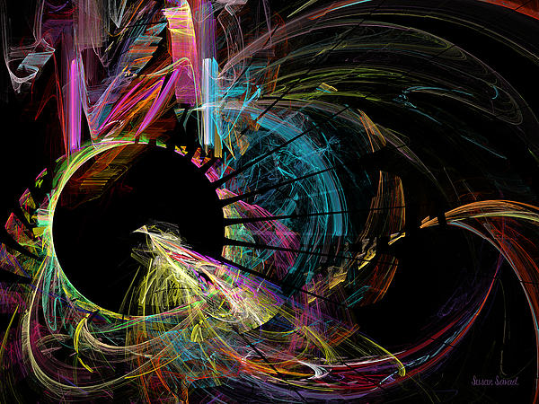 Black Hole Digital Art - Fractal - Black Hole by Susan Savad