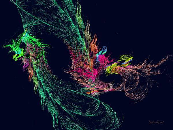 Dragon Digital Art - Fractal - Winged Dragon by Susan Savad