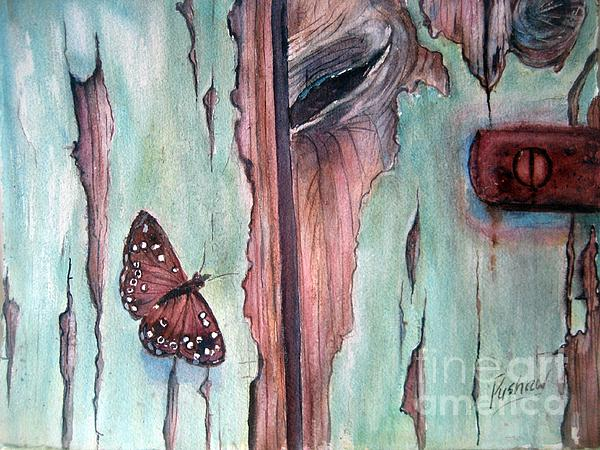 Door Painting - Fragile Beauty by Patricia Pushaw