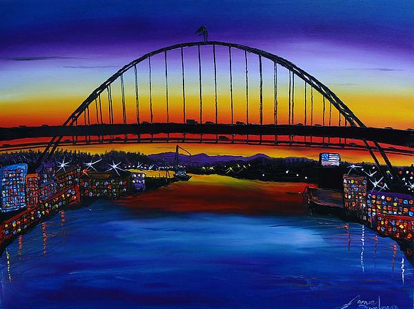 Fremont Bridge At Dusk 5 Painting by Portland Art Creations