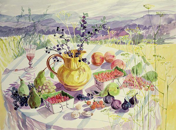 Flower Painting - French Table by Elizabeth Jane Lloyd