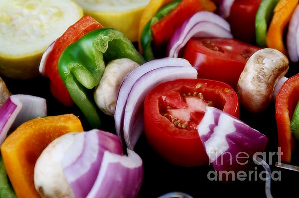 Fresh Photograph - Fresh Veggie Kabobs On The Grill by Peggy Hughes