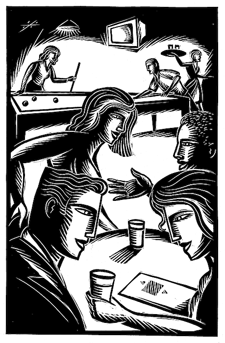 Friends At Bar Drawing by Jerry Nelson