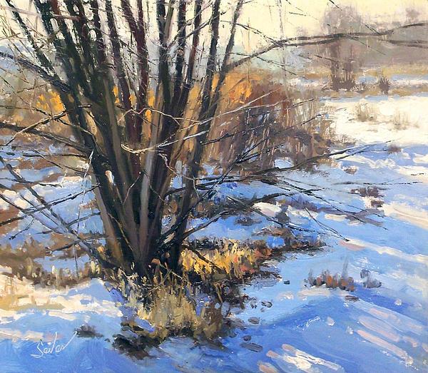 Landscape Painting Painting - Frozen Creek Tag Alder by Larry Seiler