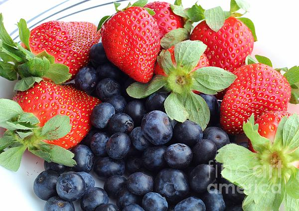 Fruit Photograph - Fruit 2- Strawberries - Blueberries by Barbara Griffin