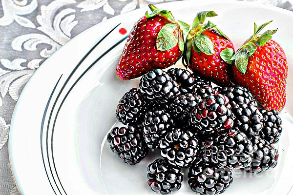 Fruit Photograph - Fruit I - Strawberries - Blackberries by Barbara Griffin