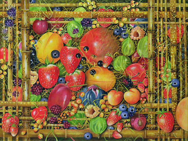 Still Life Painting - Fruit In Bamboo Box by EB Watts